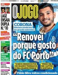 capa Jornal O Jogo de 20 novembro 2019