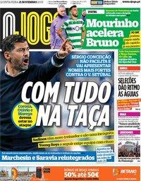capa Jornal O Jogo de 21 novembro 2019