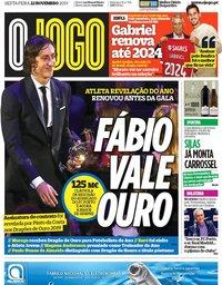 capa Jornal O Jogo de 22 novembro 2019