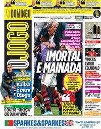 capa Jornal O Jogo de 24 novembro 2019