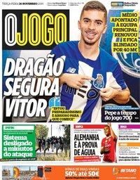 capa Jornal O Jogo de 26 novembro 2019