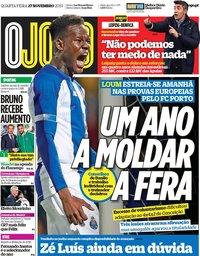 capa Jornal O Jogo de 27 novembro 2019