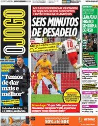 capa Jornal O Jogo de 28 novembro 2019