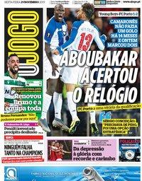 capa Jornal O Jogo de 29 novembro 2019
