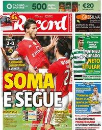 capa Jornal Record de 3 novembro 2019