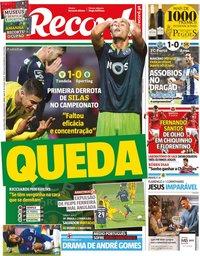 capa Jornal Record de 4 novembro 2019