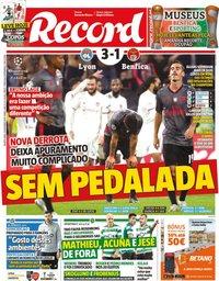 capa Jornal Record de 6 novembro 2019