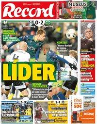 capa Jornal Record de 8 novembro 2019