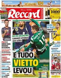 capa Jornal Record de 11 novembro 2019