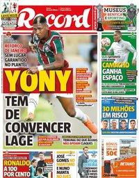 capa Jornal Record de 13 novembro 2019