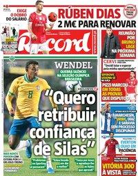 capa Jornal Record de 16 novembro 2019