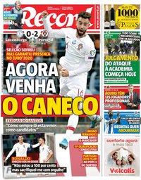 capa Jornal Record de 18 novembro 2019