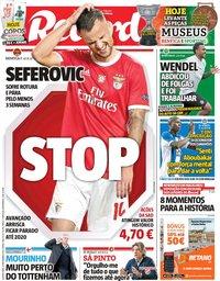 capa Jornal Record de 20 novembro 2019