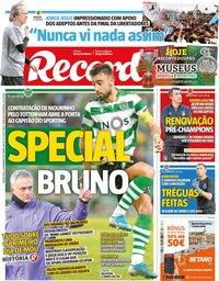 capa Jornal Record de 21 novembro 2019