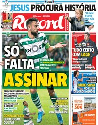 capa Jornal Record de 23 novembro 2019