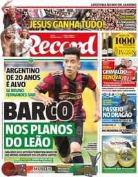 capa Jornal Record de 25 novembro 2019