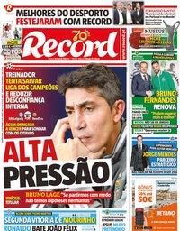 capa Jornal Record de 27 novembro 2019