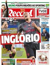 capa Jornal Record de 28 novembro 2019