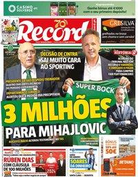 capa Jornal Record de 30 novembro 2019