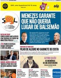capa Jornal SOL de 23 novembro 2019