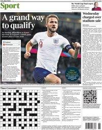 capa Jornal Times Sport de 15 novembro 2019