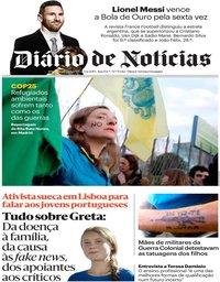 capa Diário de Notícias de 3 dezembro 2019