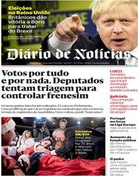 capa Diário de Notícias de 13 dezembro 2019