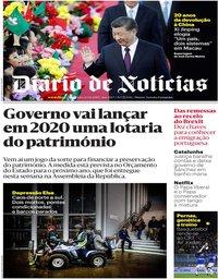 capa Diário de Notícias de 20 dezembro 2019