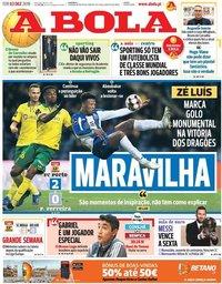 capa Jornal A Bola de 3 dezembro 2019