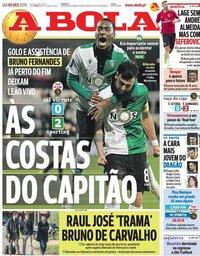 capa Jornal A Bola de 5 dezembro 2019