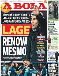 capa Jornal A Bola de 6 dezembro 2019