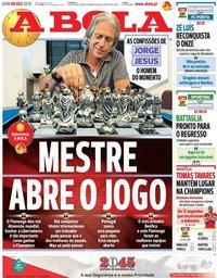 capa Jornal A Bola de 8 dezembro 2019