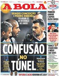capa Jornal A Bola de 10 dezembro 2019