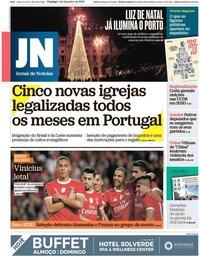 capa Jornal de Notícias de 1 dezembro 2019
