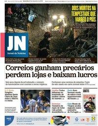 capa Jornal de Notícias de 20 dezembro 2019