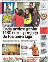 capa Jornal de Notícias de 24 dezembro 2019