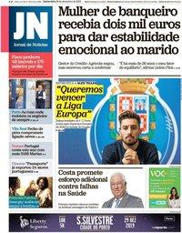 capa Jornal de Notícias de 26 dezembro 2019