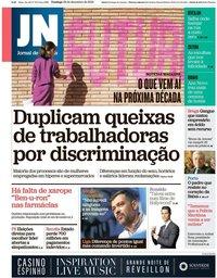 capa Jornal de Notícias de 29 dezembro 2019