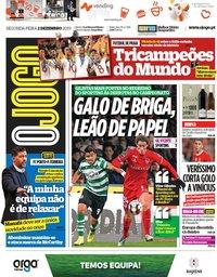 capa Jornal O Jogo de 2 dezembro 2019