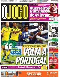 capa Jornal O Jogo de 3 dezembro 2019