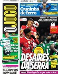 capa Jornal O Jogo de 4 dezembro 2019