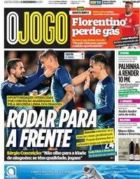 capa Jornal O Jogo de 6 dezembro 2019