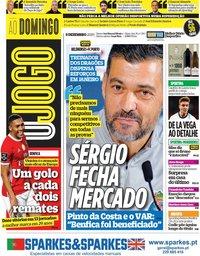 capa Jornal O Jogo de 8 dezembro 2019