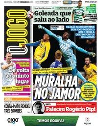 capa Jornal O Jogo de 9 dezembro 2019