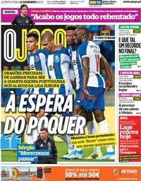 capa Jornal O Jogo de 12 dezembro 2019