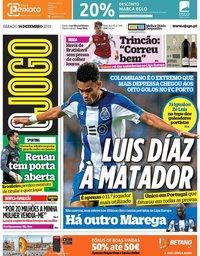 capa Jornal O Jogo de 14 dezembro 2019