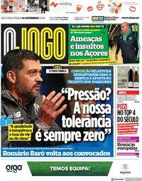 capa Jornal O Jogo de 16 dezembro 2019