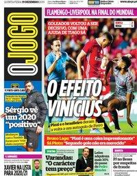 capa Jornal O Jogo de 19 dezembro 2019