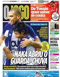 capa Jornal O Jogo de 20 dezembro 2019