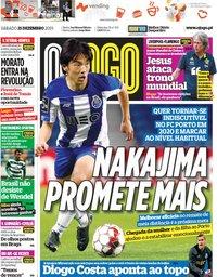 capa Jornal O Jogo de 21 dezembro 2019
